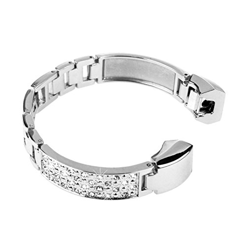 AISPORTS Compatible for Fitbit Alta Strap for Women, Fitbit Alta Strap Stainless Steel Jewelry Glitter Metal Buckle Bracelet Wristband Replacement Strap for Fitbit Alta/Alta HR Fitness Tracker, Silver