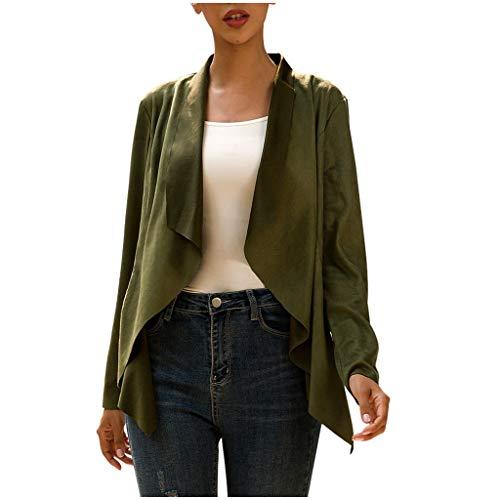 Damen Mantel Elegant Irregulär Saum Solide Oberbekleidung Plissee Jacke Strickjacke Langarm Wildleder Mäntel