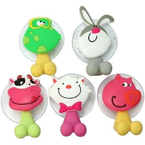 Kinderen tandenborstel houder houderwand dieren cartoon met zuignap Tandenborstel montage wandhouder 5 stuks,Green