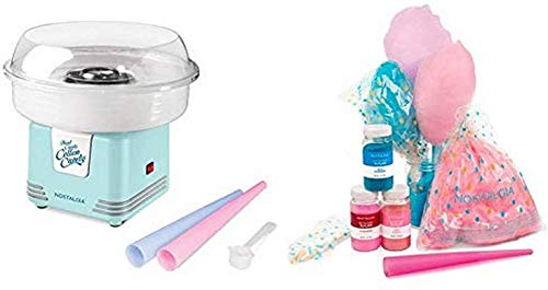 Nostalgia Retro Hard and Sugar Free Countertop Cotton Candy Maker, Includes 2 Reusable Cones And Scoop – Aqua
