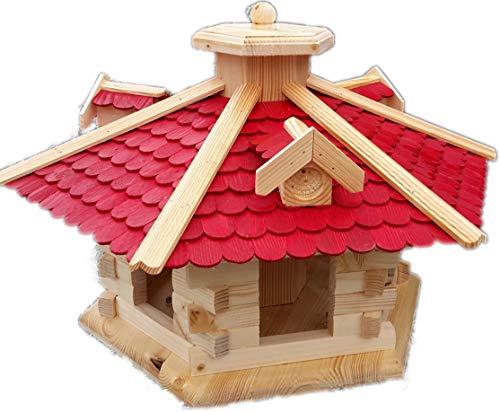 Sehr großes Vogelhaus Vogelhäuser Vogelfutterhaus Vogelhäuschen aus Holz Schreinerarbeit Gaube Rot XXL