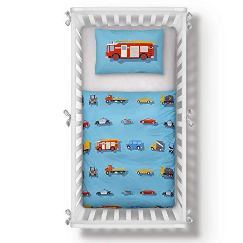 Aminata Kids Kinderbettwäsche 100x135 Jungen Autos Auto-Motiv Baumwolle blau, Junge Feuerwehr-Mann-Motiv Kinder-Baby-Bettwäsche-Set, mit Reißverschluss - Bettbezug für Kinder-Bett, Polizei, Bettzeug