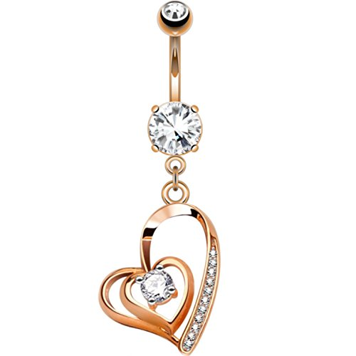 """Double Heart Dangle with Mini CZ's Belly Button Navel Ring - 14G 3/8"""" (Rose Gold-Tone Steel)"""