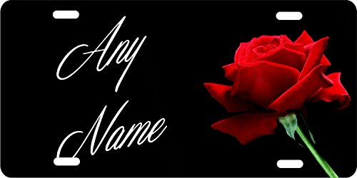 ATD Red Rose Personalized Novelty Front License Plate Custom Decorative Car Tag