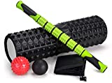 Adofys 5-in-1 18' Large Size Foam Roller Kit with Muscle Roller Stick and 2 Massage Balls, High Density for Physical Therapy, Deep Tissue Trigger, Pain Relief, Myofascial Release, Balance Exercise