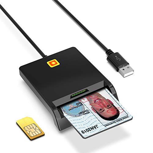 USB Smartcard Reader Chipkartenleser, SIM Kartenleser, CAC IC Bank Chipkarte ID Karte Kartenleser Adapter mit zwei Steckplätzen Unterstützung, kompatibel mit Windows, Linux, Mac OS