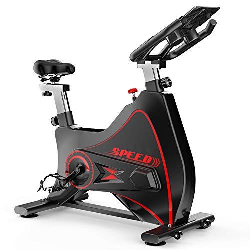 MLKE Bicicleta de ciclismo para interiores, bicicleta estática para gimnasio en casa con cómodo cojín de asiento silencioso, transmisión silenciosa, bicicleta deportiva todo incluido, color negro