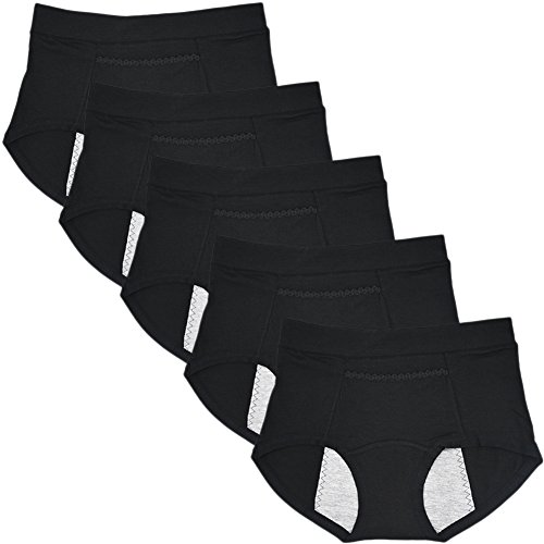 Sept.Filles Women's Invisible Panties Cycles-Period Leakproof Packs of 5(Black)