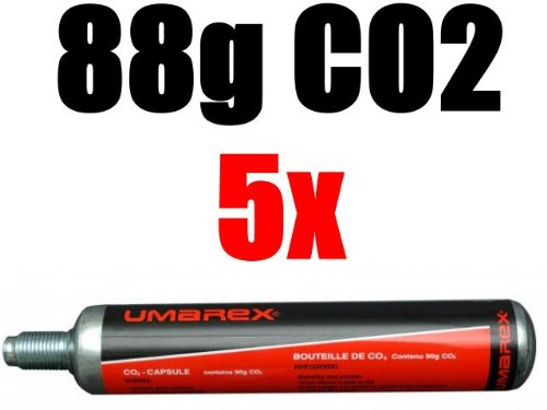 5 Umarex Co2 Kapseln 88 Gramm für Gotcha / Softair / Paintball