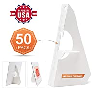 "Lineco White Single Wing Easel Backs, Size 7"". Display Your Signs, Brochures, Crafts, Pictures, Art, Prints. Easy and Quick Application. Poster Art Stand. (Pack of 50)"