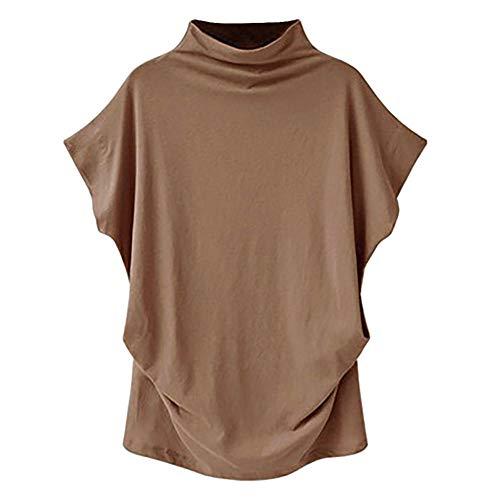 HNKPWY Tshirt Vrouwen Coltrui Korte mouw Katoen Effen Casual Tops Plus Size Vrouwen T Shirt