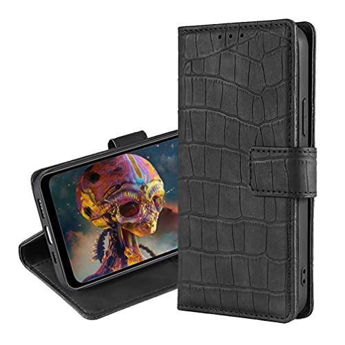 BRAND SET Handyhülle für Realme X50 Pro 5G, PU Leder Tasche + Weiche TPU Hülle Brieftasche mit Kartenfach Klapphülle Magnetische Schutzhülle für Realme X50 Pro 5G-Schwarz