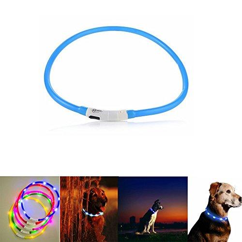 Case Wonder LED Leuchthalsband Hunde Halsband -USB Wiederaufladbar -Längenverstellbarer Haustier Sicherheit Kragen/Blinkende Kragen Deluxe -Improved Sichtbarkeit & Sicherheit (Blau)