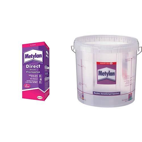 Metylan Direct Vliestapetenkleister, hochwertiger Kleister für den direkten Auftrag auf die Wand 1x200g & Metylan Tapeziereimer 10L