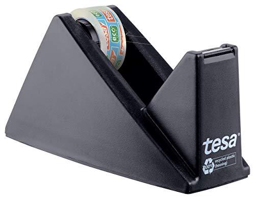 tesa Easy Cut Economy Klebebandabroller mit ecoLogo für Tische / Ökologischer Tischabroller mit Anti-Rutsch-Technologie für Klebefilm bis 10 m x 15 mm