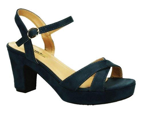 Damen Riemchen Abend Sandaletten High Heels Pumps Slingbacks Velours Peep Toes Blockabsatz Schuhe 150 (39, Blau)