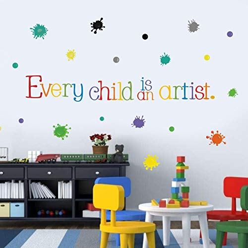 Every Child is an Artist Wall Decal, Watercolor Paint Splash with Dots Sticker for Classroom Decoration,Colorful Sticker Home Wall Art