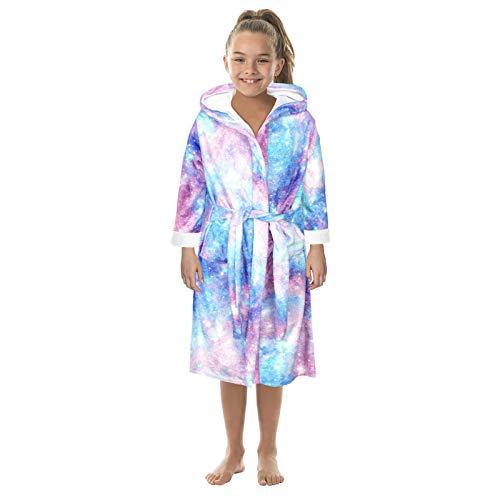 AABBQ Bademantel für Kinder,Baumwoll Kinderbademantel mit Kapuze,Jugendliche Cartoon Print Bademäntel Flanell Nacht-Robe Sleepwear,Kapuzenpullover Pullover für Mädchen und Jungen (Blau, L, 10-12J)
