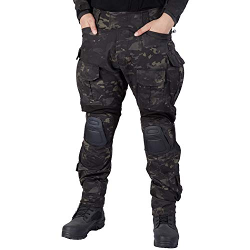 IDOGEAR G3 Combat Pants Multicam Men Pants with Knee Pads Airsoft Hunting Military Paintball Tactical Camo Trousers (Multicam Black, 30W/31L)