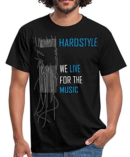 Hardstyle We Live for The Music Männer T-Shirt, L, Schwarz