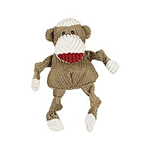HuggleHounds Plush Corduroy Durable Squeaky Knottie, Dog Toy, Great Dog Toys for Aggressive Chewers, Sock Monkey, Small