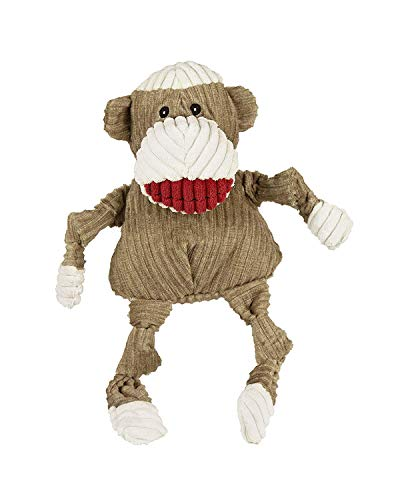 HuggleHounds Plush Corduroy Durable Squeaky Knottie, Dog Toy, Great Dog Toys  for Aggressive Chewers, Sock Monkey, Large