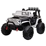 TOBBI 12V Kids Police Ride On Truck Toys with Remote Control Electric Police Car with 3 Speeds for Boys Girls in White