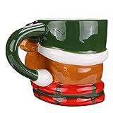 Amosfun - Tazza natalizia con renna, in ceramica, per tè, latte, Natale, feste