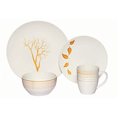 Melange Coupe 32-Piece Porcelain Dinnerware Set (Gold Nature) | Service for 8 | Microwave, Dishwasher & Oven Safe | Dinner Plate, Salad Plate, Soup Bowl & Mug (8 Each)