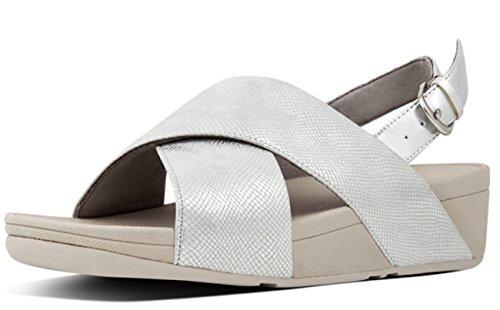 Fitflop Lulu Cross Back-Strap Sandals Shimmer, Femme, Argenté (Silver Print 578), 39 EU
