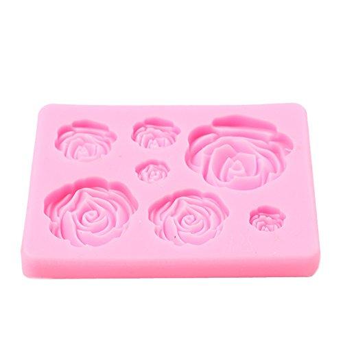 Rose Molde de Silicona Multifuncional de 6 cavidades, Molde de Pastel, Molde de Chocolate, Molde de jabón Hecho a Mano, moldes de jabón de Silicona, para Hacer su Propio Muffin, Mousse, pudín etc