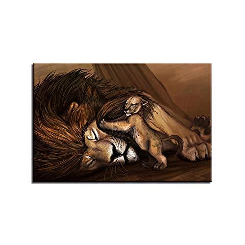 ZXYJJBCL Pintura De Lienzo En Color Imagen De Arte De Pared Estirada por Marco De Madera Listo Se Puede Colgar En La Pared León De Pintura Al Óleo Animal 30x40cm Framed