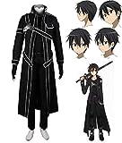 Sword Art Online SAO, Disfraz de Kirito, Anime, Uniforme de chaqueta de abrigo, Disfraz Cosplay y peluca Coslive