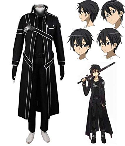 Sword Art Online SAO Kirito Uniform Cosplay Costume and Wig in Size S