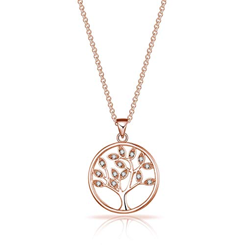 Philip Jones Rose Gold Tree of Life Necklace Created with Austrian Crystals