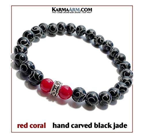 Meditation Bracelet | Answers | Reiki Healing Energy Bead Zen Self-Care Wristband Yoga Jewelry | Red Coral | Black Jade