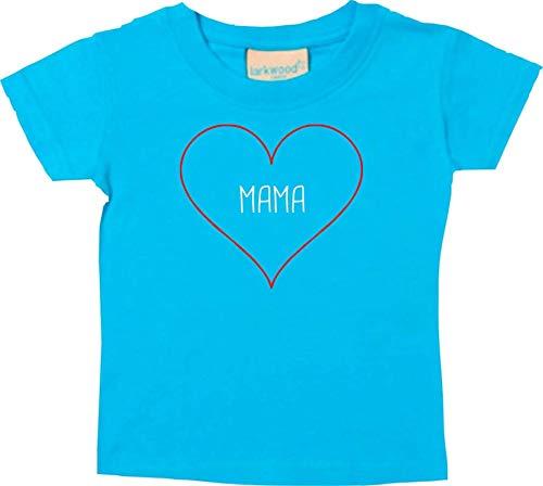 Shirtstown Baby/Camiseta Niño Mama Corazón Ich Liebe Dich Mama i Love You Mama - Tuerkis, 0-6Monate