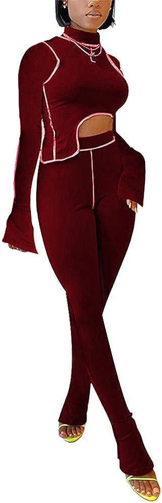 Jumpsuit for Women Casual Long Sleeve Sweatshirt Crop Top Wide Leg 2 Piece Outfit Lounge Set