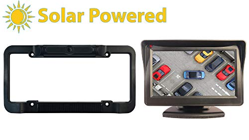 TadiBrothers Solar Powered Wireless License Plate Backup Rear View Camera with a Monitor