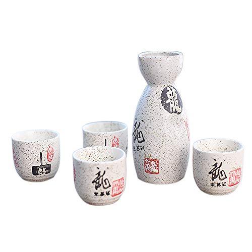 Panbado 5-teilig Japanisches Sake Set aus Steinzeug, mit 1 Sake Flasche und 4 Tassen in Einer Geschenkverpackung