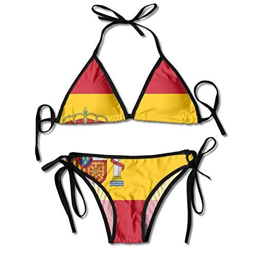 smartgood Conjuntos de bikini para mujer Bandera de España Traje de baño Halter Push Up Ropa de playa Traje de baño Triángulo Trajes de baño Negro