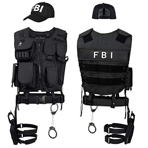 Black Snake SWAT FBI Police Security Kostüm inkl. Einsatzweste, Pistolenholster, Handschellen und Baseball Cap - M/L - FBI