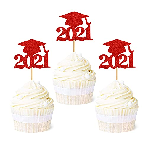 Ercadio 36 Pack 2021 Graduation Cap Cupcake Toppers Glitter Glitter Class of 2021 Grad Cap Cupake Picks Decorations for 2021 Graduation Theme Party Supplies Red