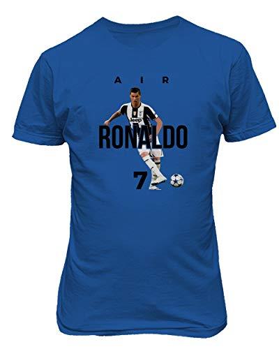 BTA Apparel Neu Fußball Air Ronaldo CR7 Cristiano Ronaldo Juve Herren T-Shirt (Königsblau, S)