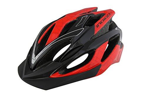 Indigo V17Fahrradhelm–Unisex Fahrrad Helm mit verstellbarem Fassung/Belüftung/abnehmbarer Peak–Rot & Schwarz (S/M (52–58cm))