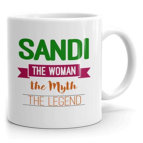 MugMax The Woman The Myth The Legend D5 - Taza de café (cerámica, 325 ml), color blanco