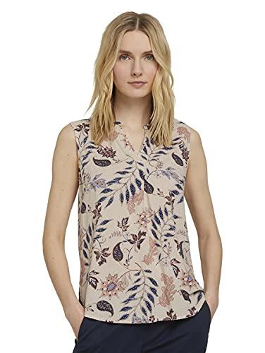 TOM TAILOR Damen 1025819 Top Bluse, 24313-White Floral Design, 40