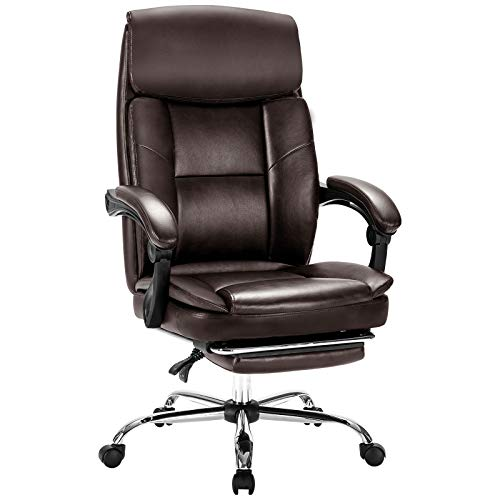 Rimiking Big & Tall Office Chair with Footrest- Bonded Leather Desk Chair Swivel Rolling High Back Computer Chair Adjustable Ergonomic Task Chair Brown