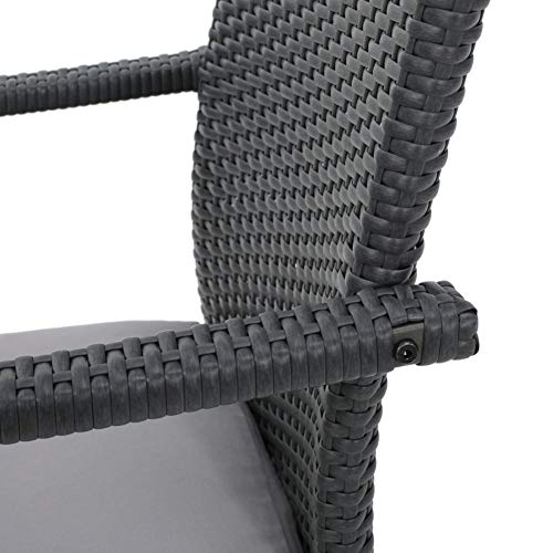 Christopher Knight Home Corsica Outdoor Wicker Dining Chairs with Cushions, 2-Pcs Set, Grey