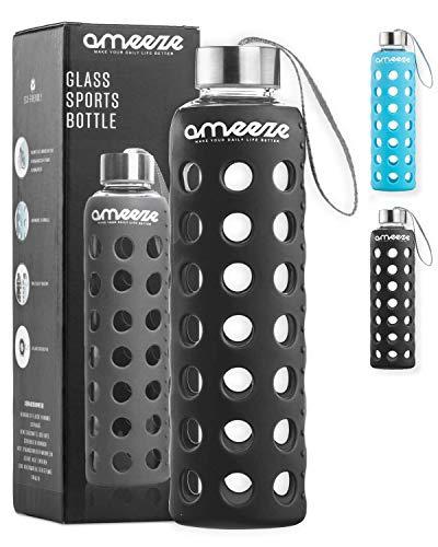 Trinkflasche aus Glas 500ml, Wasserflasche aus Glas; Glasflasche aus Borosilikatglas mit Schutzhülle, bruchsicher & spülmaschinenfest (grau)